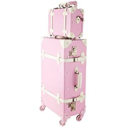"CO-Z Premium Vintage Luggage Sets 24"" Trolley Suitcase and 12"" Hand Bag Set with TSA Locks (Pink + Beige) (12"" +24"" Pink)"