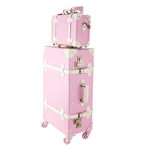 CO-Z Premium Vintage Luggage Sets 24'' Trolley Suitcase and 12'' Hand Bag Set with TSA Locks (Pink + Beige) (12'' +24'' Pink) by CO-Z