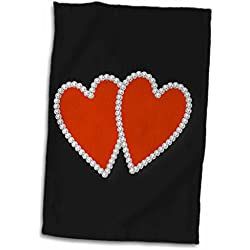 3dRose TNMGraphics Valentines - Twp Red Diamond Edged Hearts - 12x18 Towel (twl_238286_1)