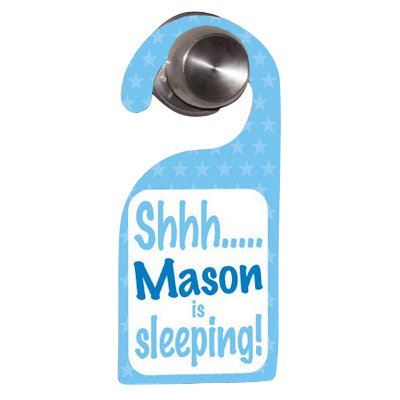 GiftsForYouNow Personalized Baby's Sleeping Blue Door Hanger, 4
