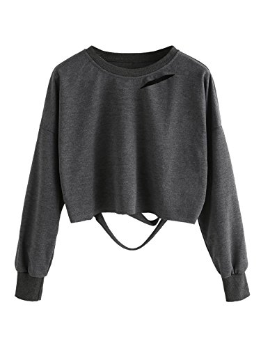 SweatyRocks Women's Long Sleeve Crop T-shirt Distressed Ripped Cut Out Tee Tops Grey XL