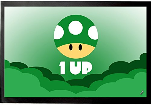 1art1 Gaming Door Mat Floor Mat - One Up Icon (24 x 16 inches)