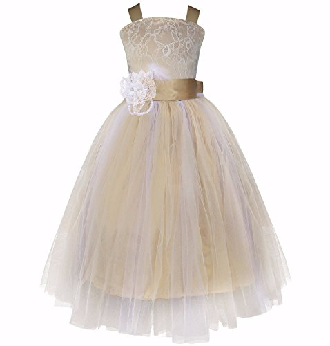iEFiEL Girls Floral Lace Fluffy Tulle Flower Dress Wedding Pageant Feather Costume Champagne 8 (Christmas Pageant Dresses)