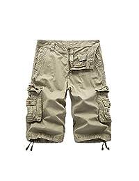 Elonglin Men's Vintage Cargo Shorts Relaxed Casual 100% Cotton Bermudas No Belt