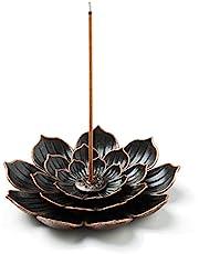 GARMOLY Incense Burner, Incense Holder for Sticks, Brass Lotus Incense Stick Holder and Detachable Ash Cather