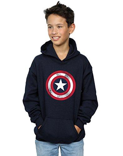 Marvel Boys Captain America Distressed Shield Hoodie Navy Blue 7-8 Years