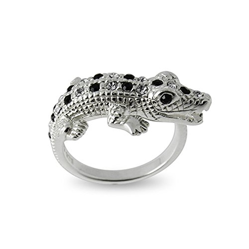 Fashion Alligator Black and White Multi Crystal Stone 925 Sterling Silver Finger Ring -Size (Sterling Silver Alligator)