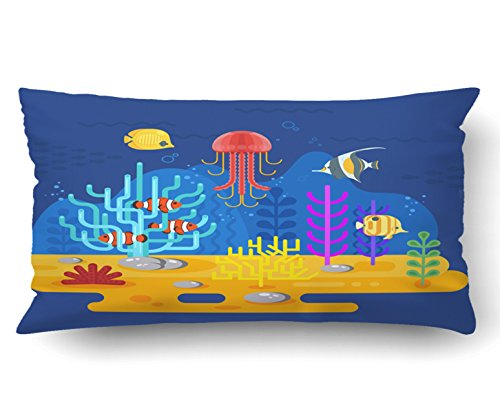 Emvency Pillow Covers Decorative Flat Style Coral Reef With Fish For Web on blue Bulk With Zippered 20x36 King Size Pillow Case For Home Bed Couch Sofa Car One Sided by Emvency (Image #1)
