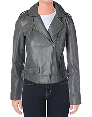 Womens Faux Leather Bonded Motorcycle Jacket