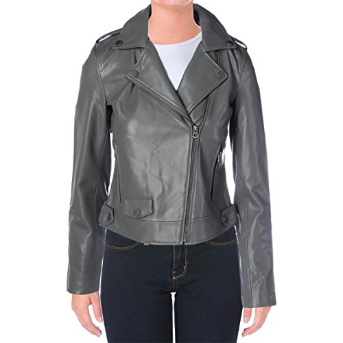 Lucky Brand Womens Faux Leather Moto Motorcycle Jacket Gray M