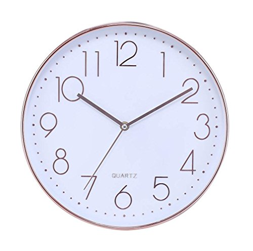 Modern Silent Non Ticking Wall Clock 12' Round Decorative Battery...