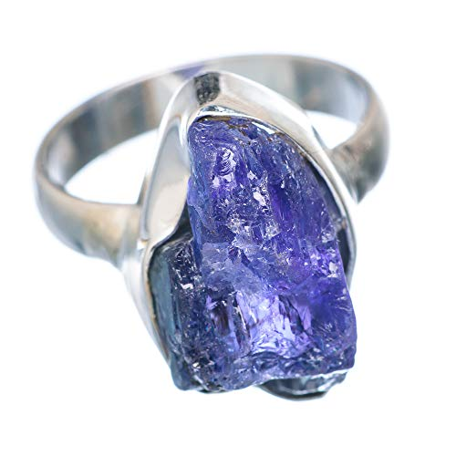Rough Tanzanite Ring Size 7.75 (925 Sterling Silver) - Handmade Boho Vintage Jewelry RING933238 from Ana Silver
