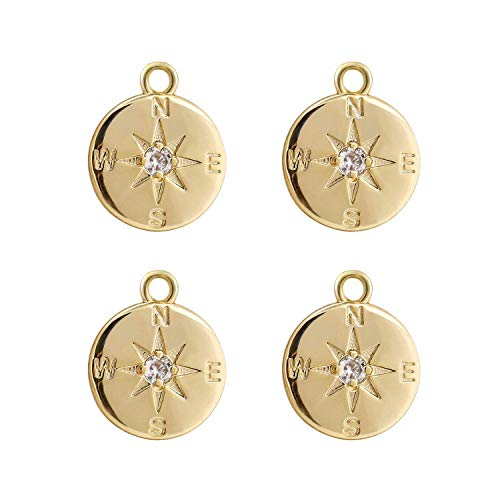 (Wholesale 4PCS 14K Gold Plated Compass Pendant Dainty Round Disk Friendship Charms Supplies for Jewelry Making )