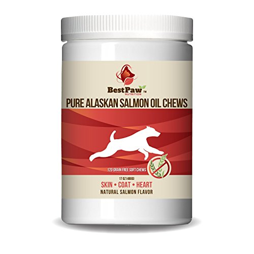 Pure Paw Nutrition Wild Alaskan Salmon Oil Soft Chew Reward Treats for Healthy Skin & Coat with Kelp, Vitamins C & E, Omega-3's, DHA & EPA for Small or Large (Kelp Treats)