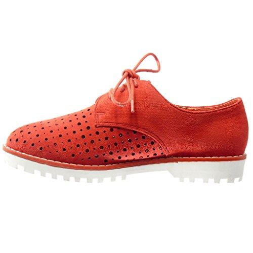 Angkorly - Chaussure Mode Derbies femme perforée tréssé Talon bloc 2.5 CM - Rouge