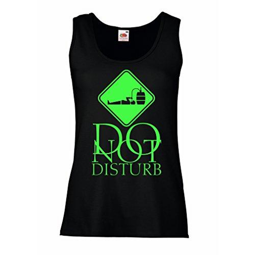 Camisetas sin Mangas para Mujer No molestar - Sólo estoy aquí para tomar una copa Negro Verde