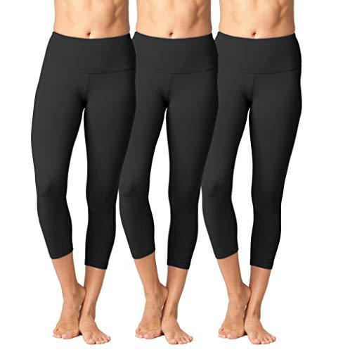 Yogalicious High Waist Ultra Soft Lightweight Capris - High Rise Yoga Pants (XS, Black 3 Pack) - Sweatpants Rise Low