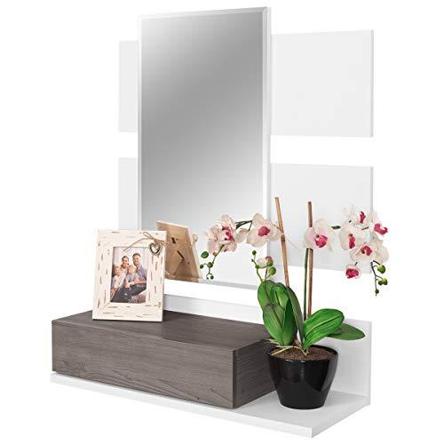 COMIFORT Recibidor Colgante - Mueble de Entrada con Cajon, Espejo y Estante de Estilo Nordico y Moderno, Muy Resistente y Estable, de Color Blanco y Trufa