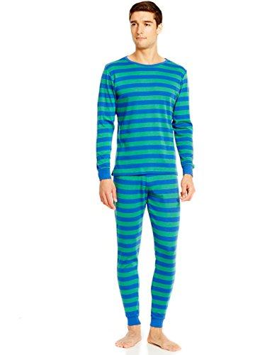 Leveret Mens Blue & Green Striped 2 Piece Pajama Set 100% Cotton X-Large