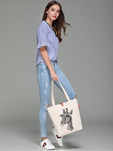 So'each Women's Giraffe Geometry Graphic Top Handle Canvas Tote Shoulder Bag