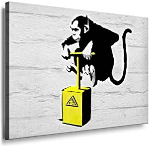 Banksy Graffiti Street Art 1215. Size 100x70x2cm(l/h/w). Canvas On Wooden Frame. Made In Germany.