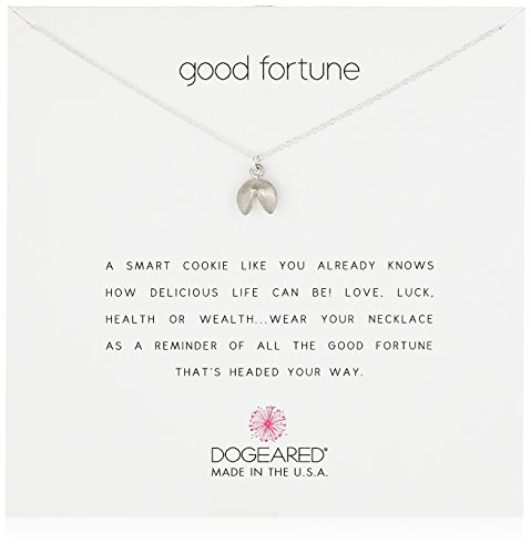 (Dogeared Good Fortune, Fortune Cookie, Silver Chain Necklace, 16