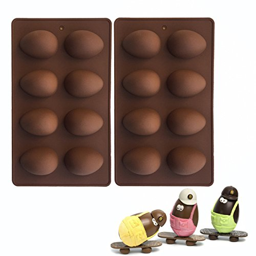2-Pack Easter Egg Silicone Mold - MoldFun Easter surprise Eggs Pan Mold for Peanut Butter Chocolate, Candy, Muffin Cake, Cupcake, Jello, Soap, Bath Bomb, Yogurt Ice Cream, Candle Wax