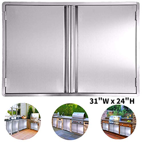 CIOGO BBQ Access Door 31x24 Inch Double Wall Outdoor Kitchen Door, 304 All Brushed Stainless Steel Double BBQ Door for BBQ Island, Outside Cabinet, Barbecue Grill ,Outdoor Kitchen