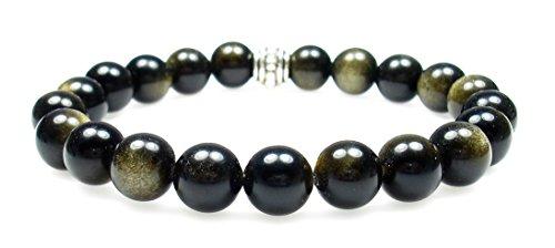 GOLD SHEEN OBSIDIAN 8mm Round Genuine Crystal Gemstone Beaded Bracelet on Elastic Cord (Sheen Obsidian)