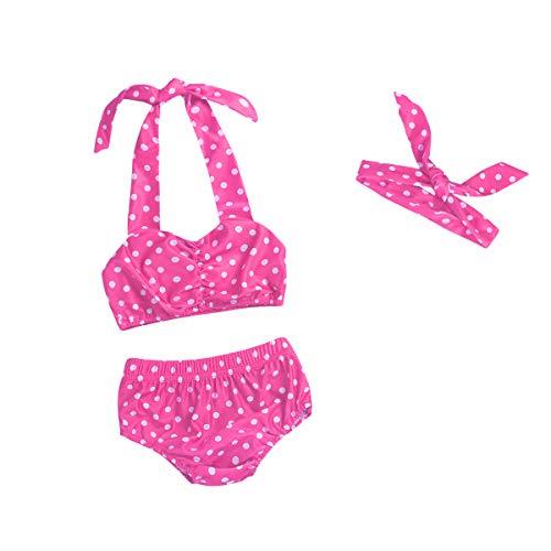 - Baby Girls Bikini Polka Dot Swimsuits Halter Swimwear Tankini with Headband (Pink, 6-12M)