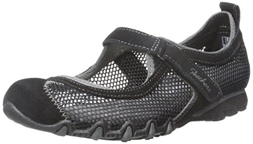 Skechers Bikers-jardín de hierbas Mary Jane plana Black