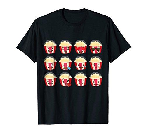 Popcorn Emoji T-shirt Popcorn Emoticon Halloween Costume ()