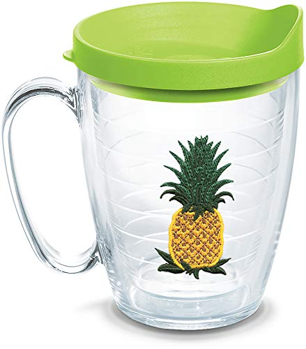 Tervis 1302228 Pineapple Insulated Tumbler with Emblem and Lime Green Lid, 16oz Mug, Clear