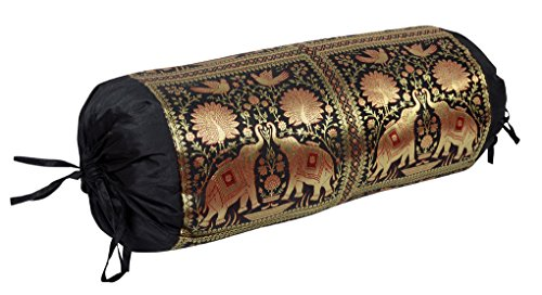 Lal Haveli Silk Embroidered Bolster Covers Massage 30 X 15 Inches