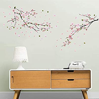 ufengke Flower Peach Blossom Wall Stickers Tree Branch Wall Decals Art Decor for Bedroom Living Room