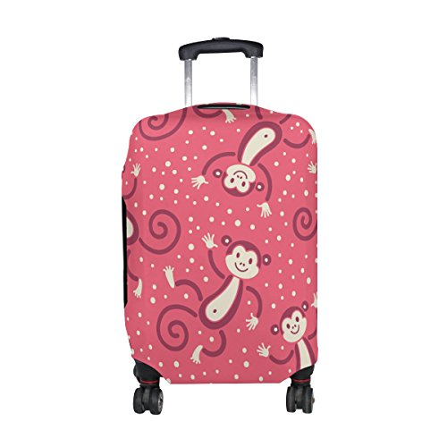 Cute Cartoon Monkey Pattern Print Travel Luggage Protector Baggage Suitcase Cover Fits 22-24 Inch (Sock Monkey Onesie Adults)