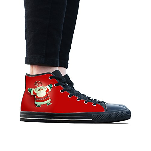 Sneakers, Custom Christmas Santa Claus Hoge Top Heren Zwarte Klassieke Casual Mode Sport Canvas Schoenen