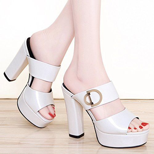 Blanc Femmes 35 Pantoufles Blanc Taille Heel Femelle Mode Couleur D'été HWF Ms Chaussures femme Haute Sandales Chaussures axw1faU4q
