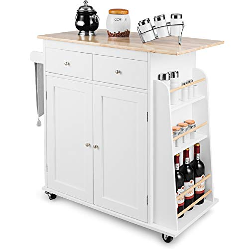 Giantex Kitchen Island Cart, Rolling Trolley on Wheels with Storage Cabinet, Towel Rack, 2 Drawers, 2 Spice Rack and Wine Bottle Rack, Kitchen Cart with Rubber Wood Countertop (White)
