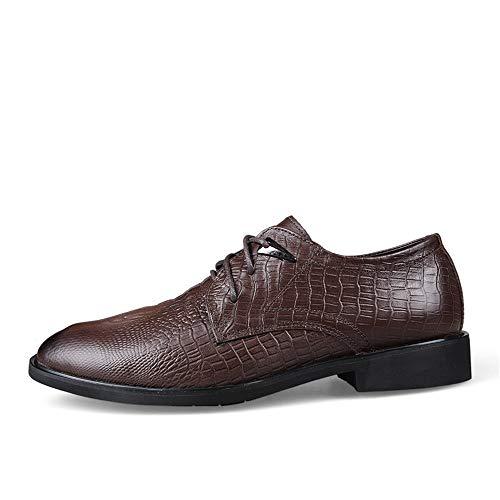 Formales de Oxford Hombres de cocodrilo Oscuro la de Simple del Oxford clásico los Casual Marron Cabeza Zapatos Redonda gd6qHg