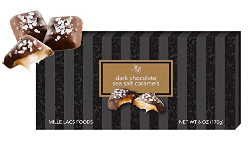 Box of Dark Chocolate Sea Salt Caramels 6 Ounces Bulk Popular Gift Basket Idea Home Family House Top Sweet Party Favor Her Women Mother in Law Fiance Wife Girlfriend Mom Corporate Best Valentine's Day