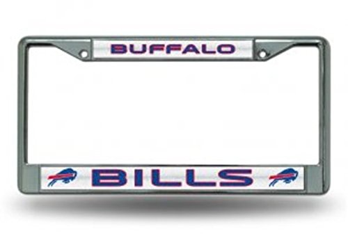 NFL Buffalo Bills Bling Chrome License Plate Frame with Glitter Accent -