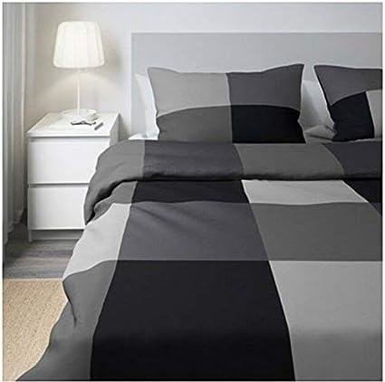 Ikea Brunkrissla Housse De Couette Et 2 Taies D Oreiller Noir Gris 150x200 50x80 Cm Amazon Fr Cuisine Maison