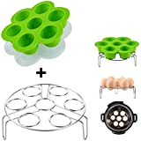 Lakatay One Green Silicone Egg Bites Molds with One Stainless Steel Egg Steamer Rack for Instant Pot Reusable Storage Container (1 Set)