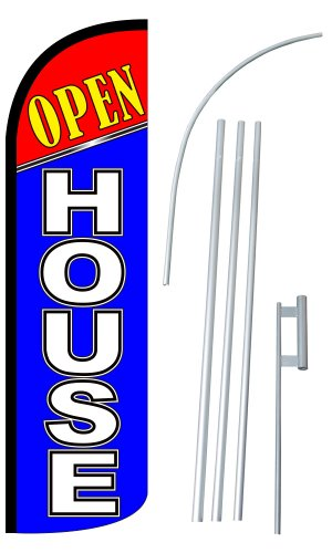 """NEOPlex – """"Open House 12-Foot Super Swooper Feather Flag with Heavy-Duty 15-. For Sale"""