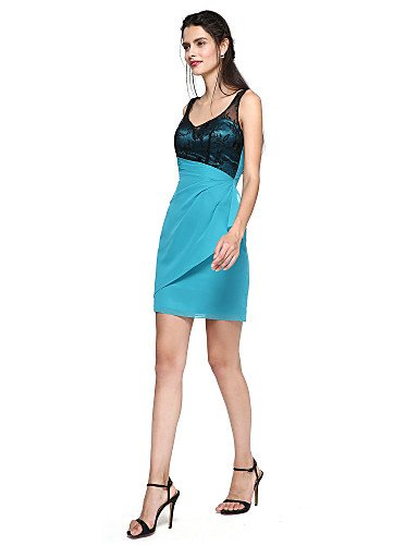 de mini encaje correas columna Vaina fiesta AIURBAG encaje de lateral drapeado de vestido con cóctel de corto vOIRx