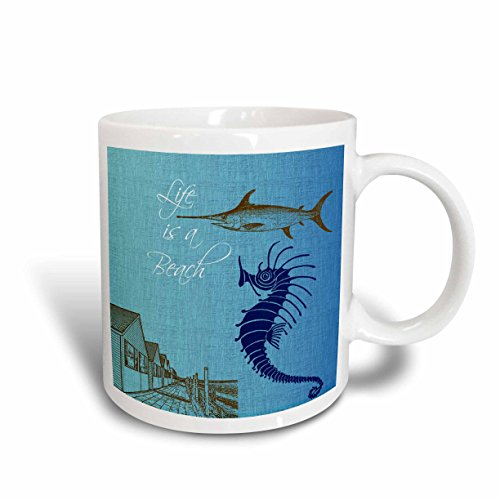 3dRose 123430_1 Life Cottages with Fish and Seahorse Beach Theme Ceramic Mug 11 oz White