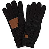 BYSUMMER C.C. Fuzzy Lined Winter Warm Knit Touchscreen Texting Gloves