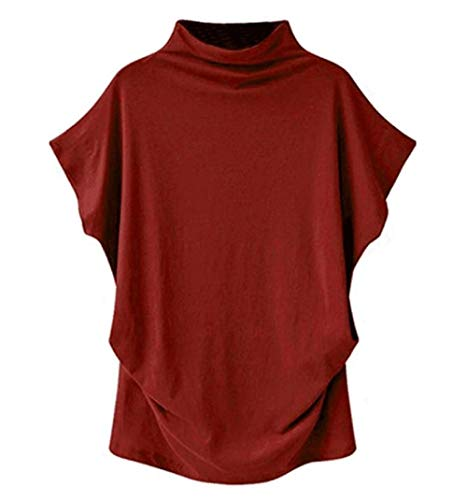 VLDO Sweatshirts for Women Casual Loose Linen Soild Lace Splice Button Short Sleeve Tops(4X-Large,Red)