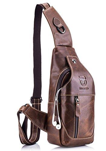 BULLCAPTAIN Genuine Leather Men Sling Bags Casual Crossbody Bag Chest Shoulder Bag Travel Hiking Backpack (Brown)